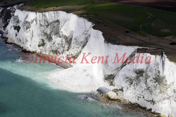 PIC SHOWS;aerials kent views. Landslip in the White Cliffs of Dover