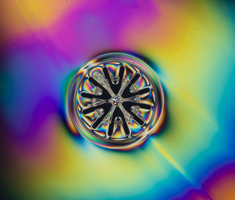 part of a CD jewel case in polarised light