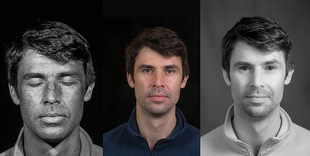 Portrait using UV reflected (left), visible light (centre) and infrared techniques (right)