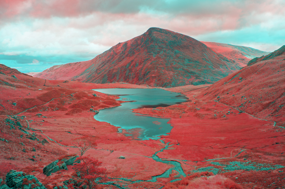 Cwm Idwal, Snowdonia. Digital infrared image, simulating the colours of false colour infared film