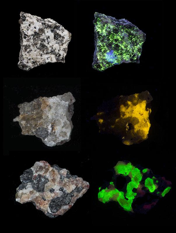 Minerals fluorescing in UV radiation (365nm)