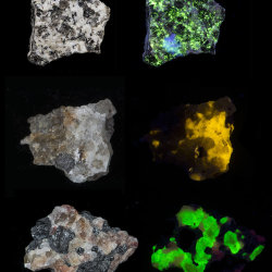 Minerals fluorescing in UV radiation (365nm)