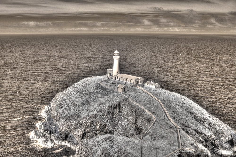 South Stack lighthouse, Anglesey. Infrared HDR image