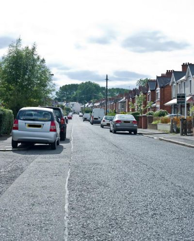 Onslow parade leading to ravenhill park the ravenhill rugby grounds are on the left at the bottom of this road.
