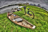 Grass , Boats , Bicycle