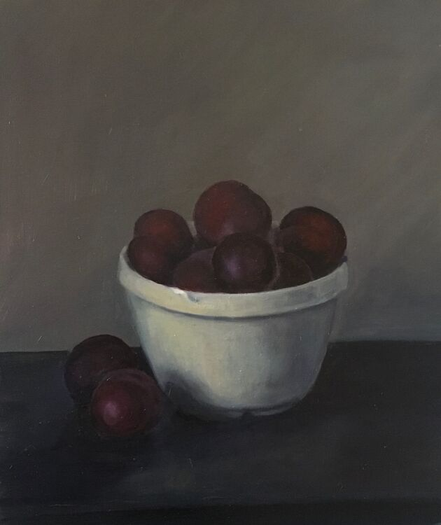 Plums in a bowl - Oil on Canvas £300