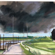 Storm inland from Southwold Harbour
