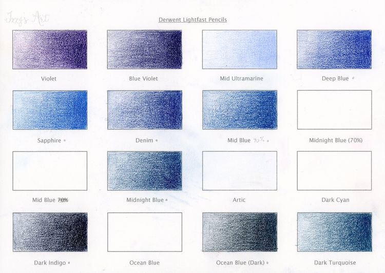 Derwent Lightfast Colour Chart 3