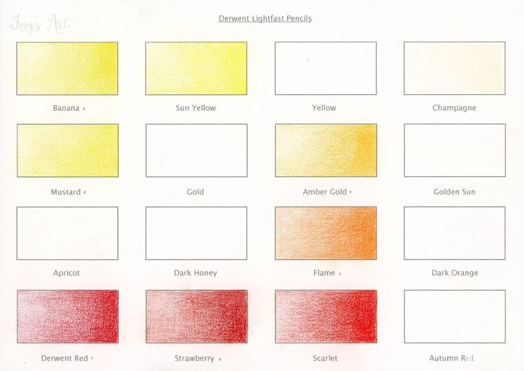 Derwent Lightfast colour chart 1