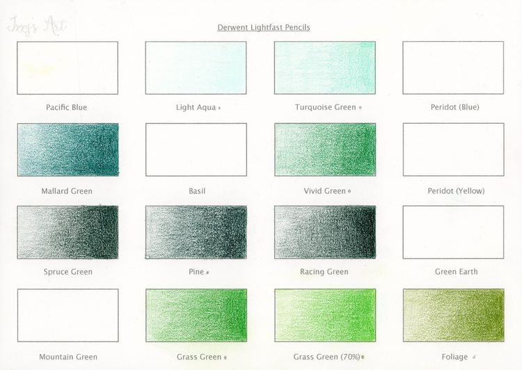 Derwent Lightfast Colour Chart 4