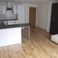 Open plan kitchen and living room, luxury 1 bedroom Loughborough student accommodation apartments on Nottingham Rd.