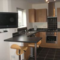 Modern open plan kitchen in Gracedieu Rd luxury Loughborough student house to let to groups of 4.