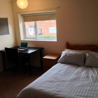 4 Double rooms and 1 single in 74 Grace dieu Rd student house accommodation in Loughborough available to groups of 4 of 5. Each bedroom has a premium quality mattress, wardrobe, chest of drawers, desk and chair, shelves, mirror and noticeboard.
