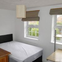Moorhen Way Kingfisher estate student houses to let to groups of four, all with double bedrooms, premium quality mattresses, quality wardrobe, chest of drawers, desk and chair, shelves, mirror and pin-board.
