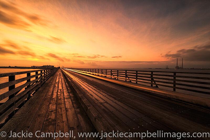 Light trails at dawn Clontarf Wooden Bridge