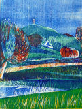 Glastonbury Tor, woodblock