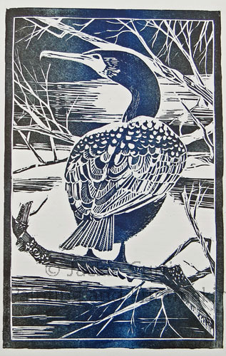 Cormorant Woodblock