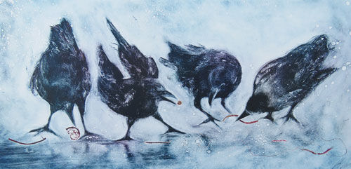 Beach Combing Crows