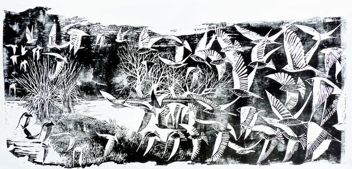 Flock - Large Woodblock