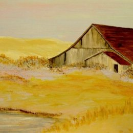 'Old Barn by Pond'