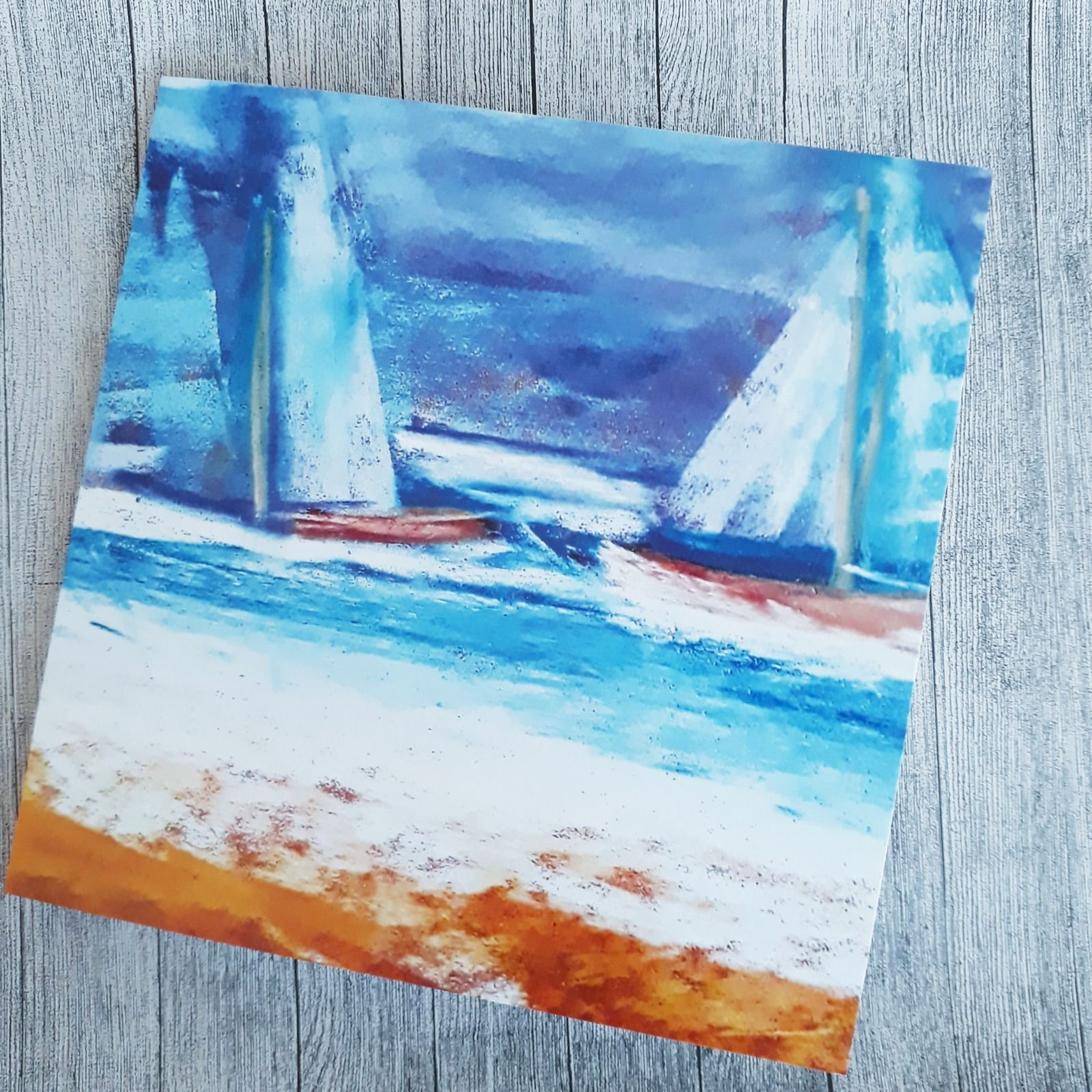 Abstract blue boats