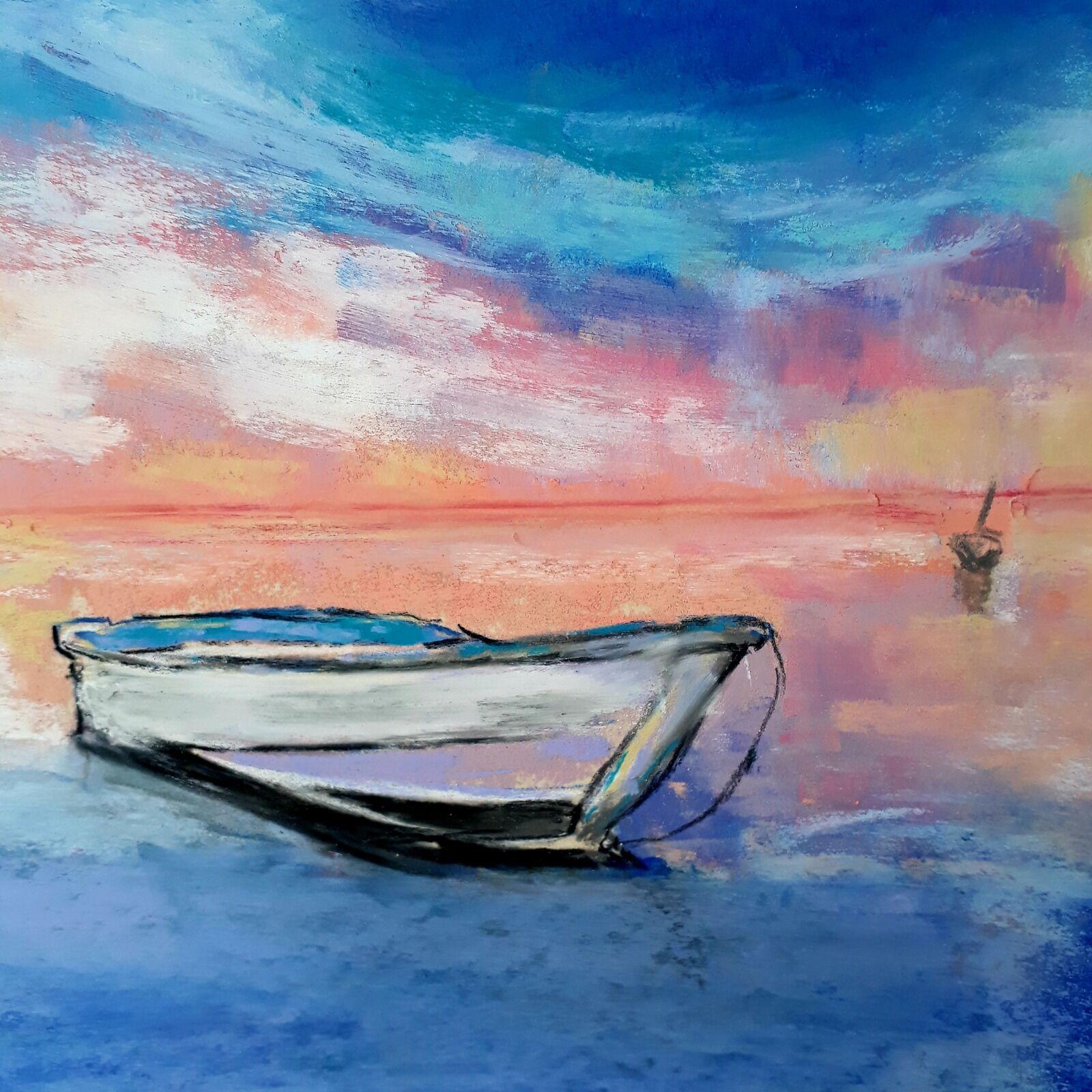 Blue boat, blue sea