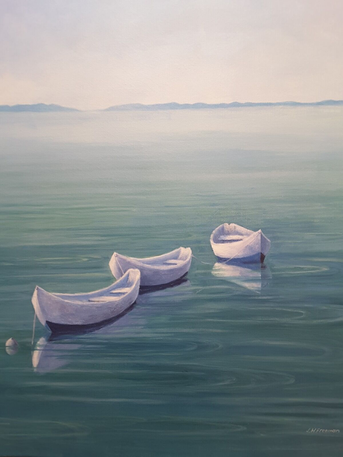 Boats in Blue acrylic on block canvas