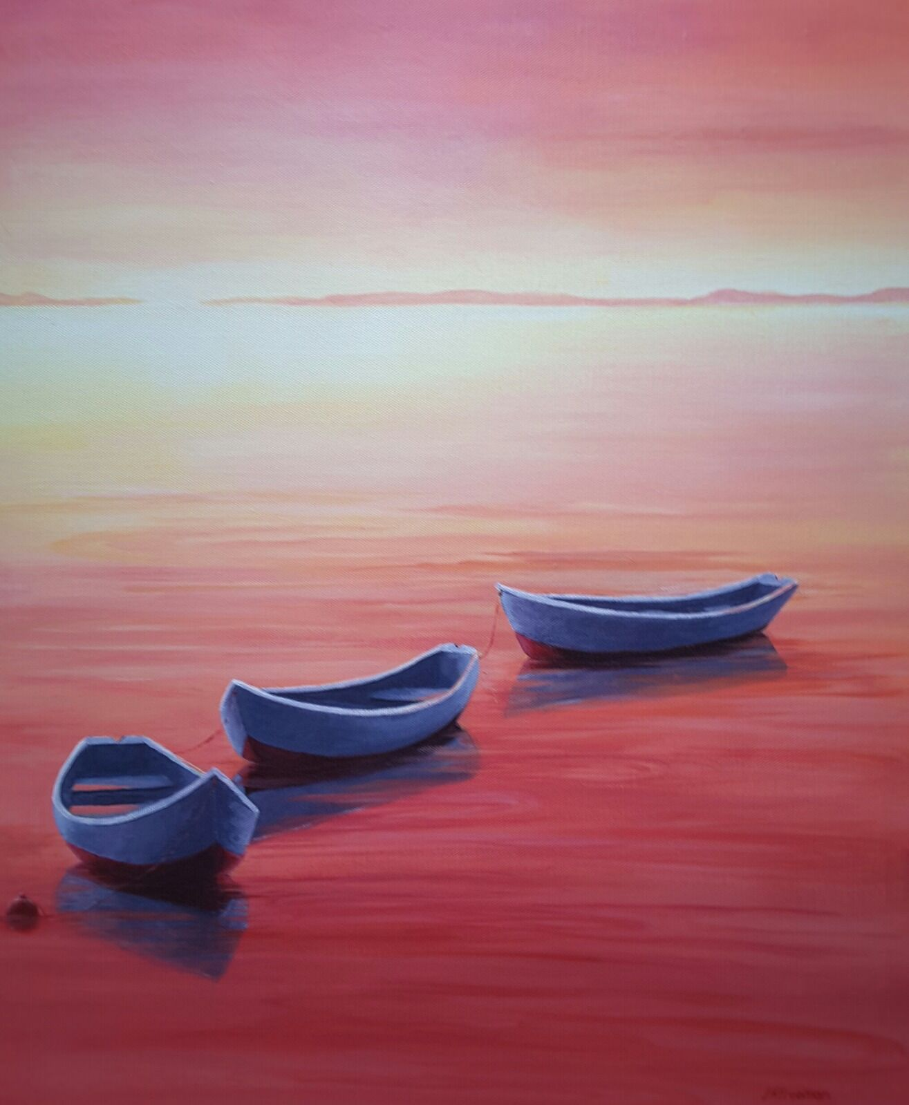 """""""Boats in Red"""" in acrylic"""