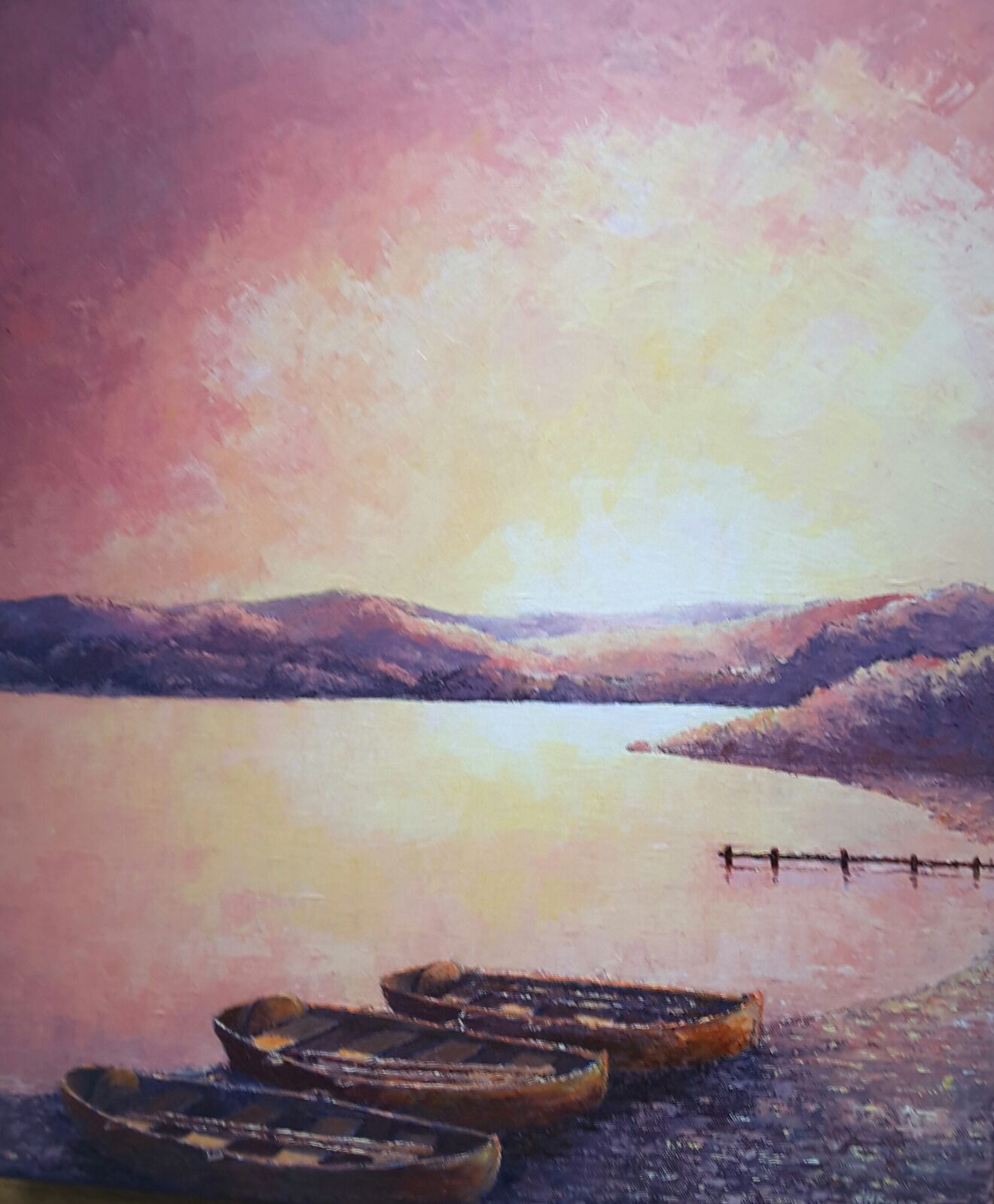 Sunset over Windermere in acrylics