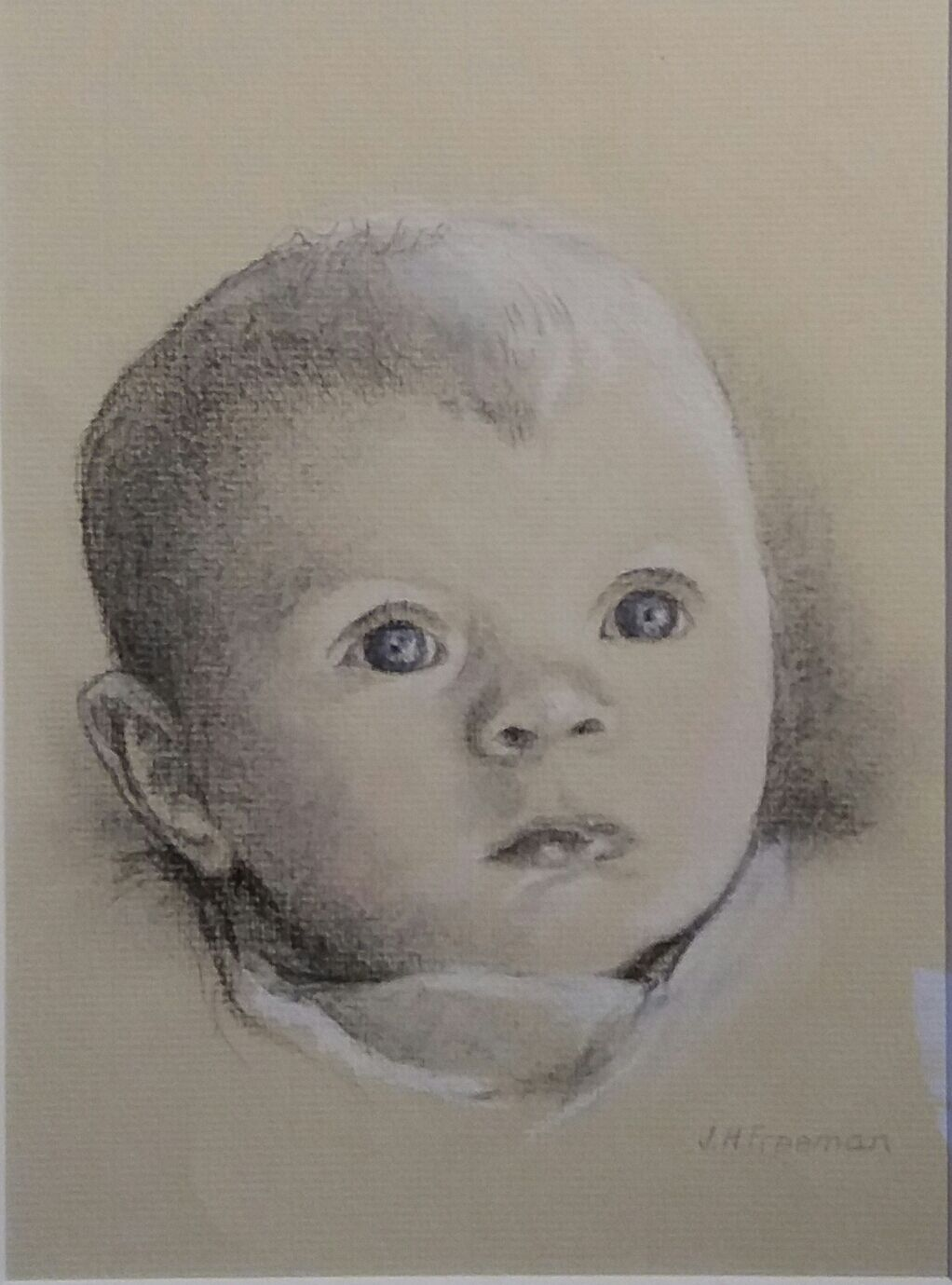 Baby portrait in charcoal and pastel