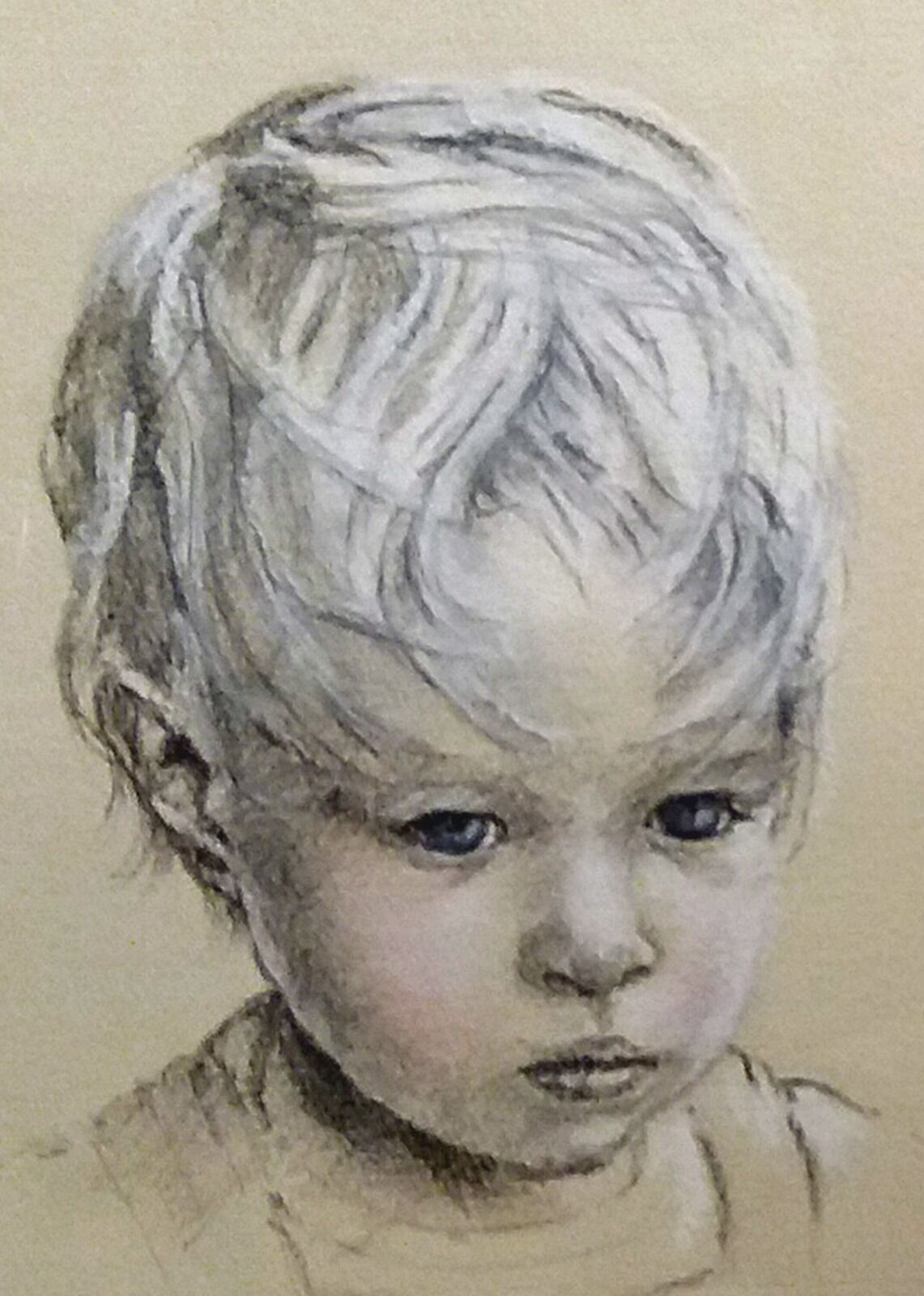 Portrait in charcoal and pastel