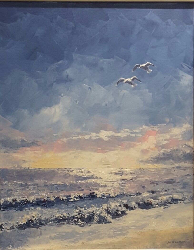 Seagulls and surf in acrylic