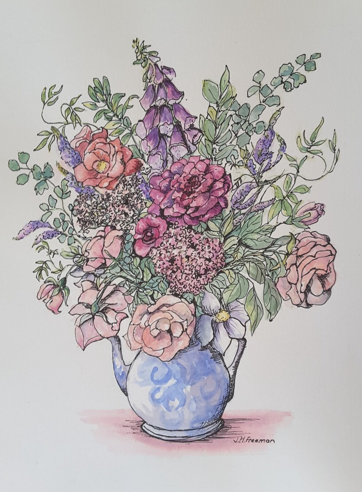 Flowers from my Garden in pen and watercolour