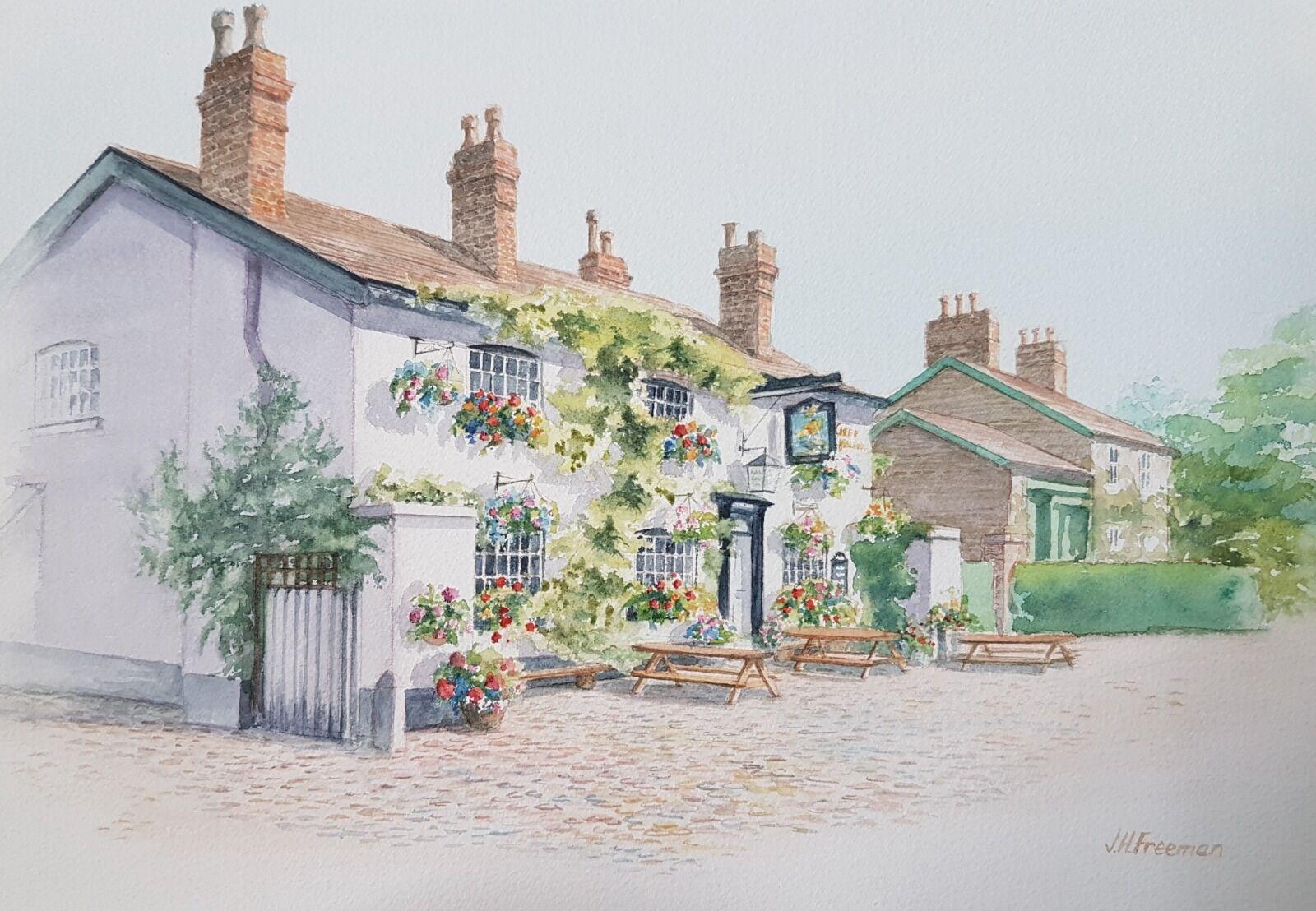"""The Ship Inn, Styal"" watercolour"