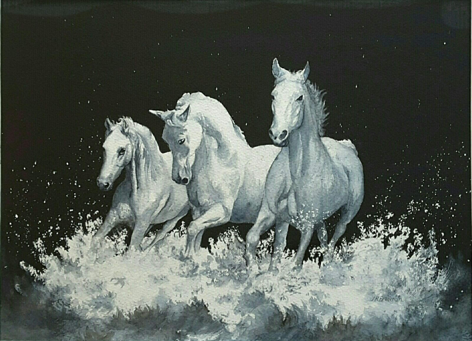 """""""White Horses"""" in watercolour"""