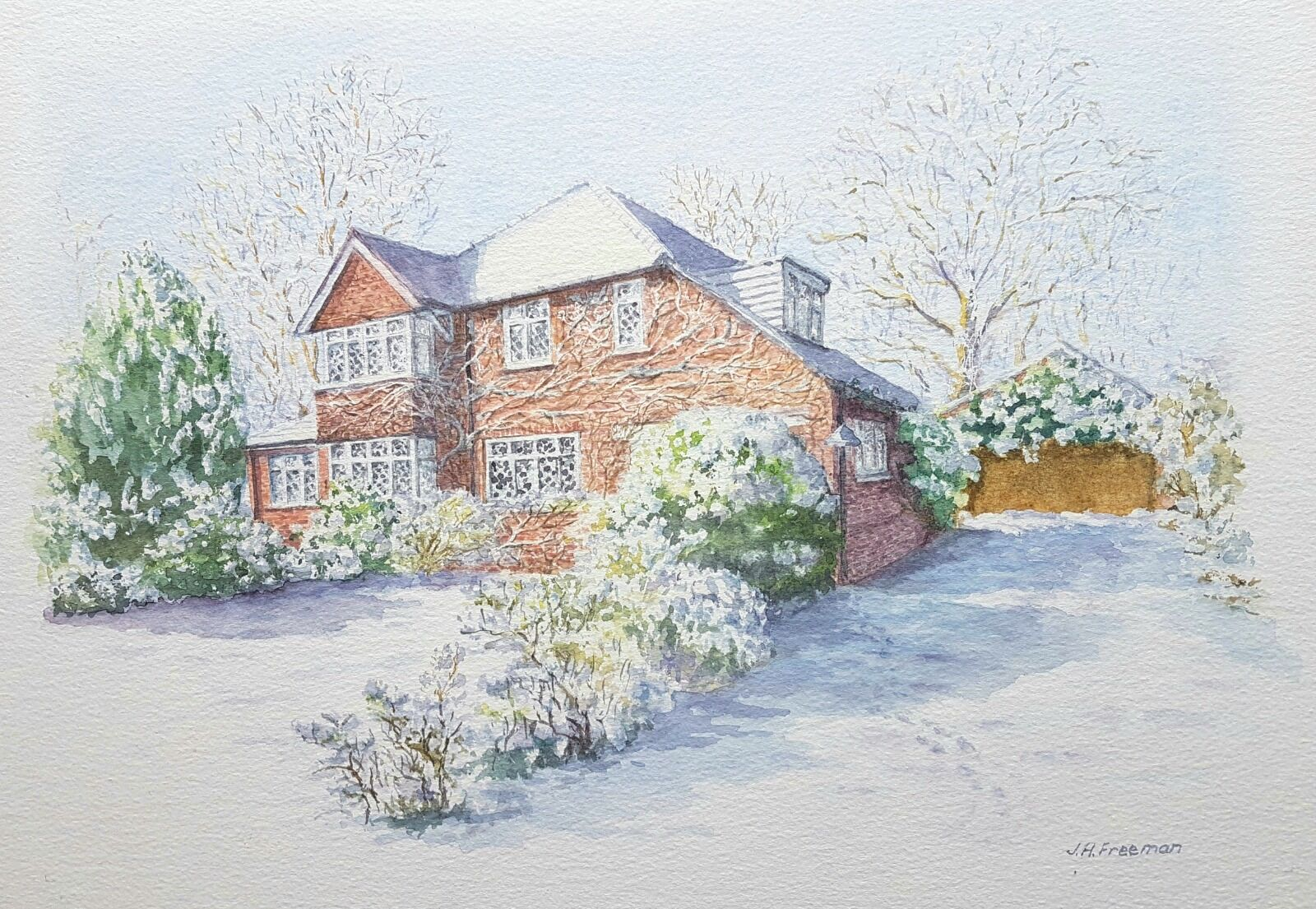 """""""House in snow"""" watercolour"""