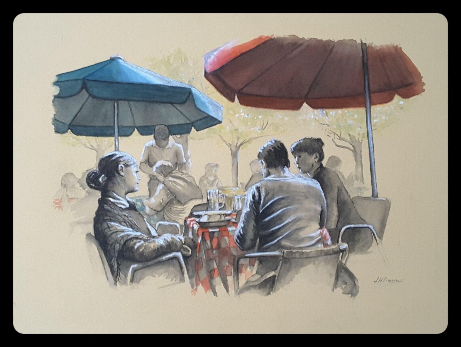 Cafe scene in mixed media