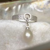 Silver circle ring with pearl