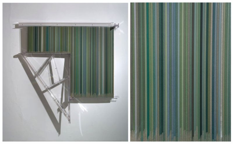 The polychromesandsessions (#1, green particles in a portion-like wall) 2010