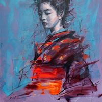 'Kimono 2' oil on canvas 40ins by 32ins framed