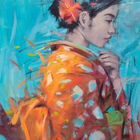 'Kimono I' oil on canvas 40ins by 32ins framed