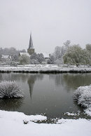 Godalming Parish Church in the snow