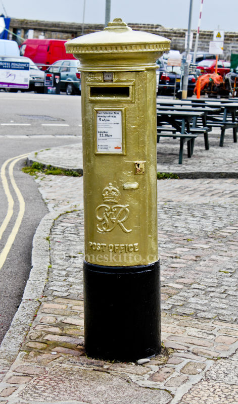 Olympic Gold medallist, Helen Glover's Gold Postbox, Penzance