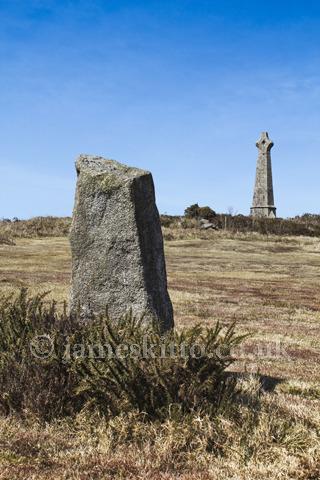 Rock Farm higher menhir, Carn Brea