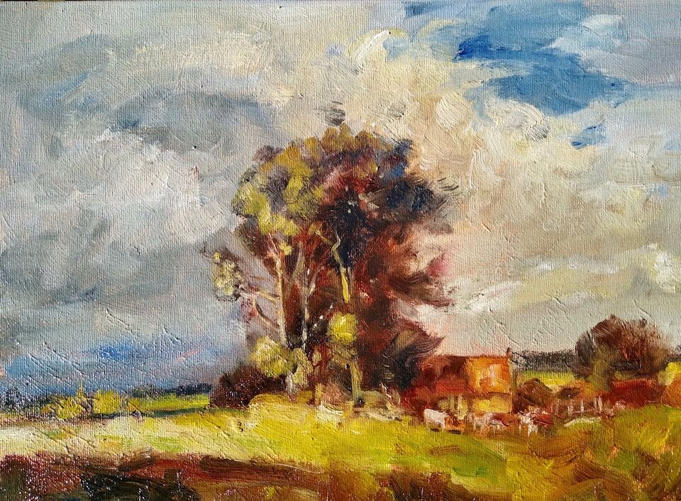 "14 x 10"" Landscape oil painting cottages and cows with tree 29th May 2020 James P McAteer"
