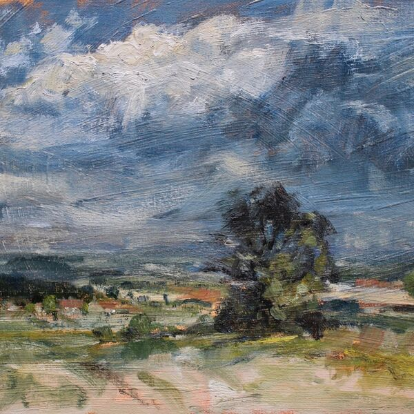 Landscape oil painting single Tree with dark Key 7th May 2020 James P McAteer
