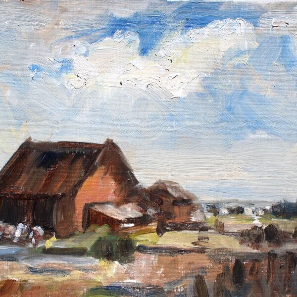 Landscape oil painting study barn cottages sky and trees James P McAteer