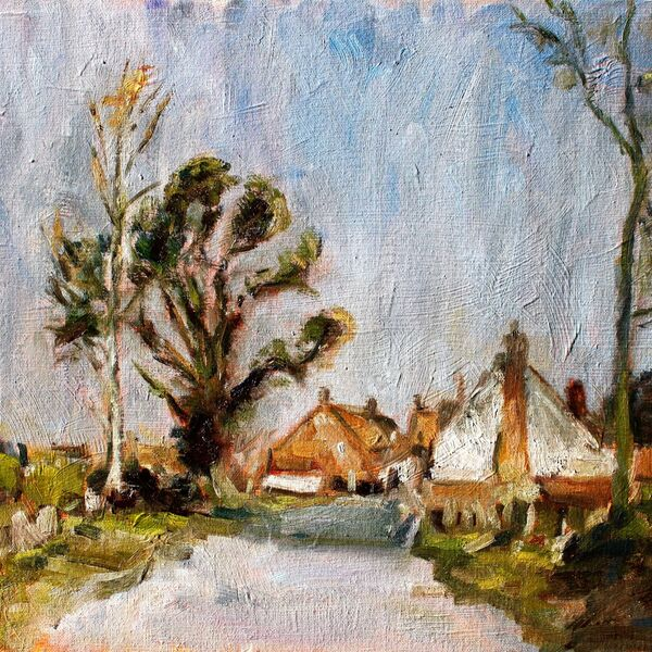 Landscape oil painting study cottages and trees sky James P McAteer