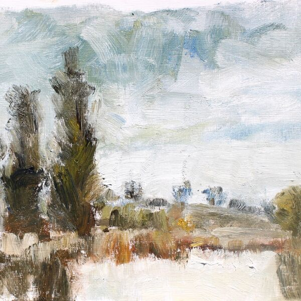 Landscape oil painting study pond and trees sky James P McAteer