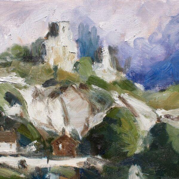 Landscape oil painting of cliffside and cottages (20cm x 30cm Oil on gessoed paper) - James P McAteer